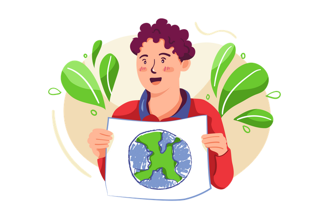 Boy promoting Earth protection Illustration