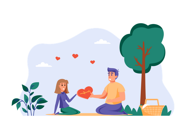 Boy proposing girl in park Illustration