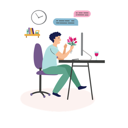 Boy proposing girl on online dating Illustration