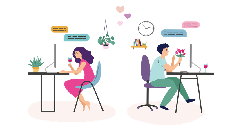 Boy proposing girl on online video call Illustration