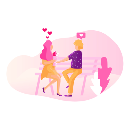 Boy proposing to girl with flower Illustration