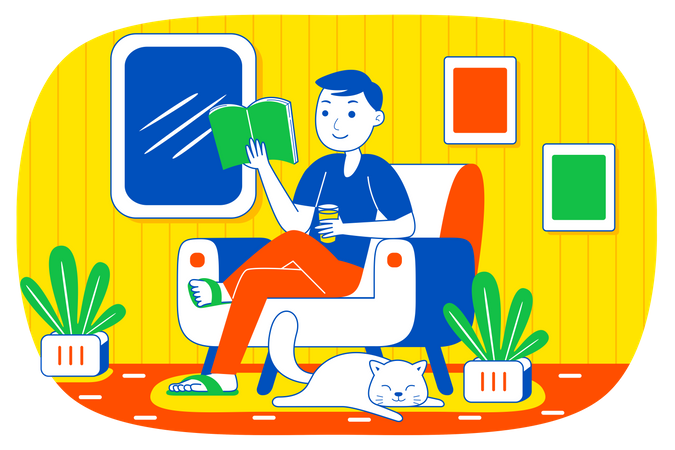 Boy reading book in free time Illustration