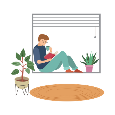 Boy reading book in house Illustration