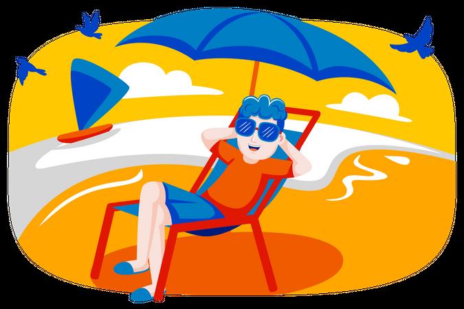 Boy relaxing at beach Illustration