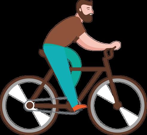 Boy Riding Bicycle Illustration