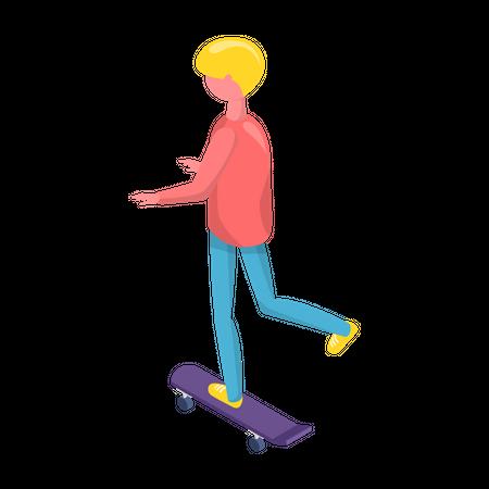 Boy riding skateboard Illustration