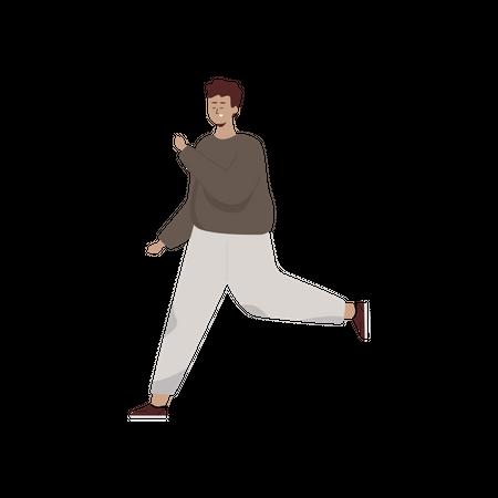 Boy running in track suit Illustration