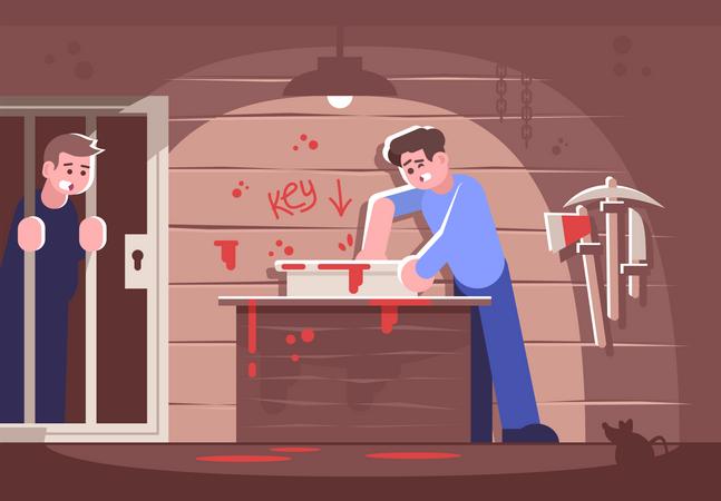Boy saving friend in escape room Illustration