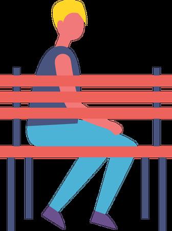 Boy Sitting Alone on Bench in Park Illustration