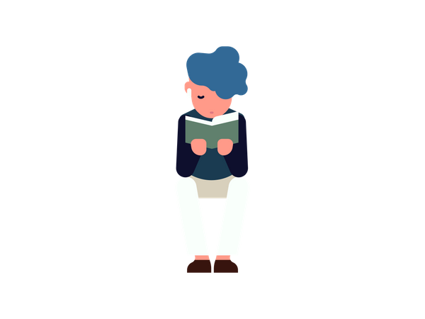 Boy sitting and reading book Illustration