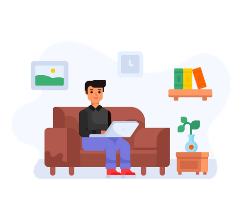 Boy sitting on couch and working Illustration