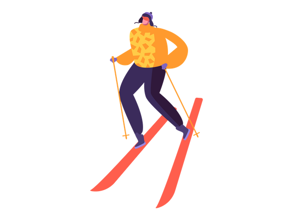 Boy skiing in winter Illustration