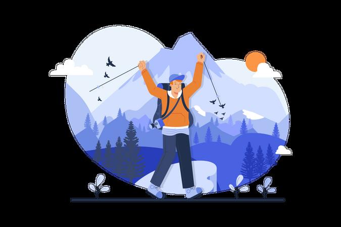 Boy skiing on mountains Illustration