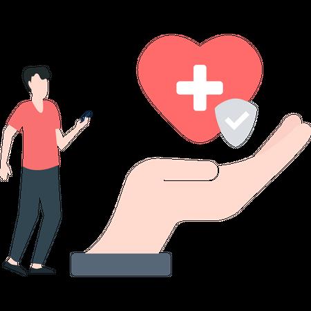 Boy taking health insurance Illustration