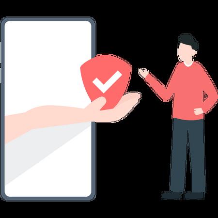 Boy taking online health insurance Illustration