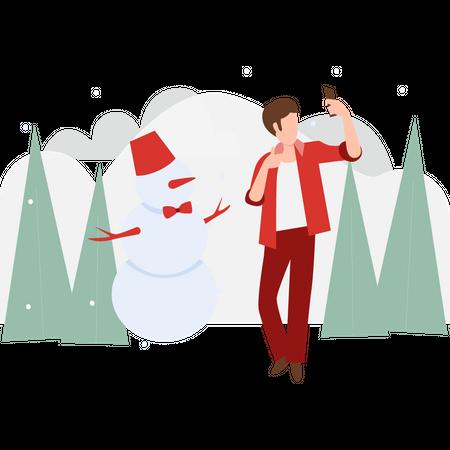 Boy taking selfie with snowman Illustration
