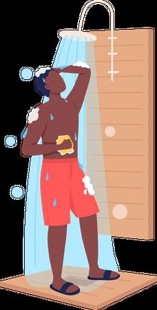 Boy taking shower Illustration