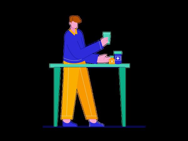 Boy taking Vitamin pills Illustration