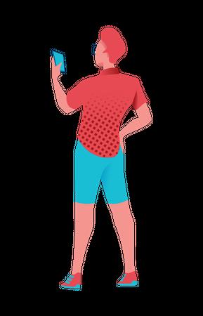 Boy texting on smartphone Illustration