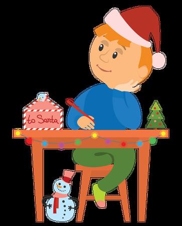 Boy thinking about christmas gift Illustration