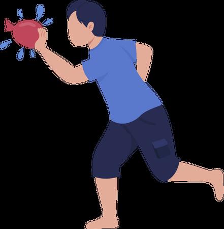 Boy throwing water bomb Illustration