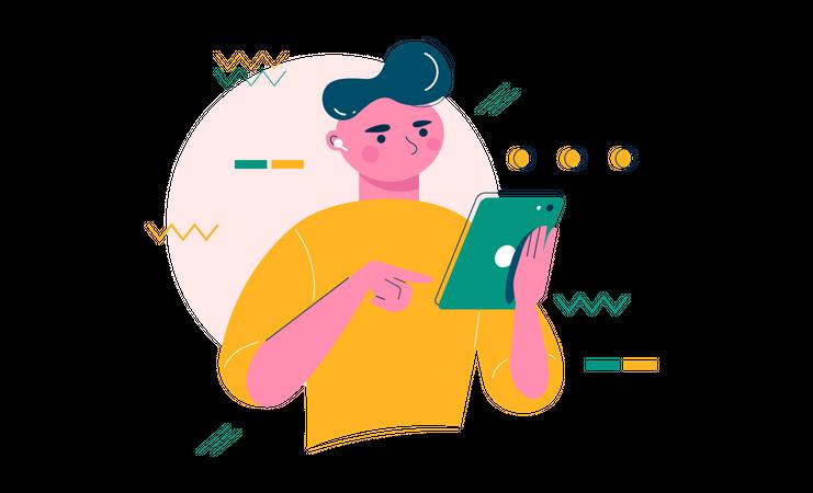 Boy using tablet Illustration