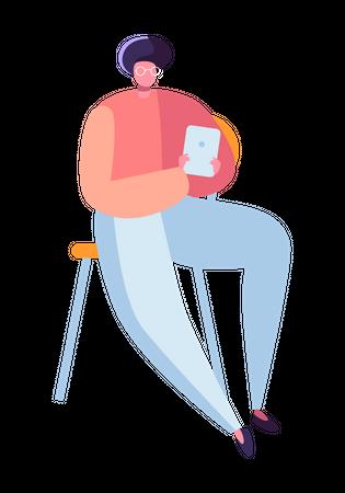 Boy using tablet for study Illustration