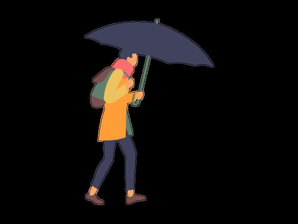 Boy walking with umbrella in rainy day Illustration