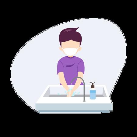 Boy Washing hand Illustration