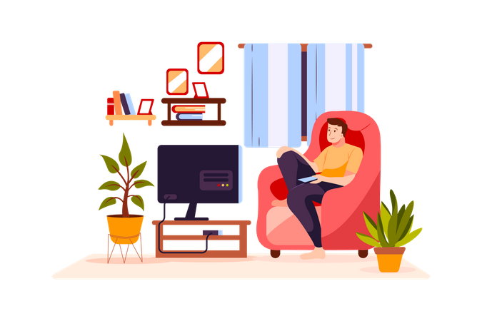 Boy watching tv in the house Illustration