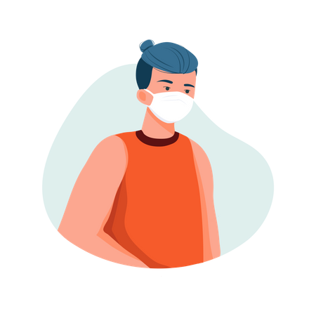 Boy Wearing Face mask Illustration