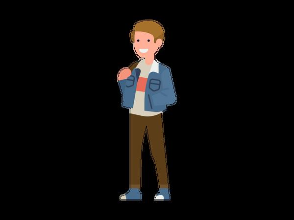 Boy wearing jacket Illustration
