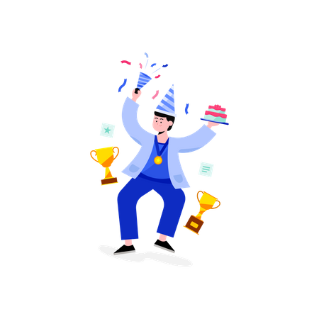 Boy win a medal and trophy Illustration