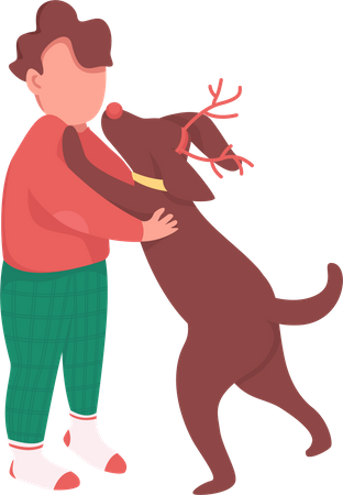Boy with Christmas gift Illustration