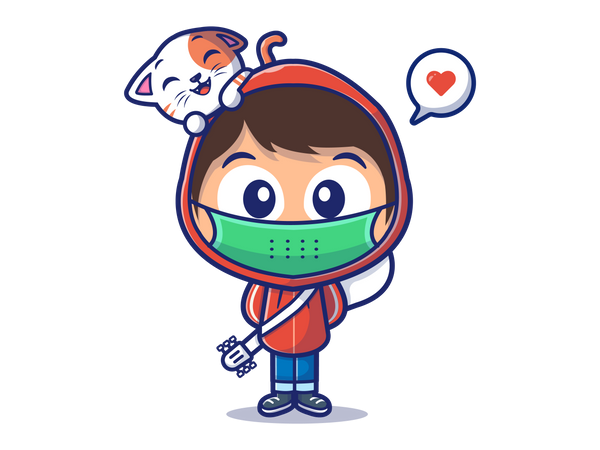 Boy with face mask Illustration
