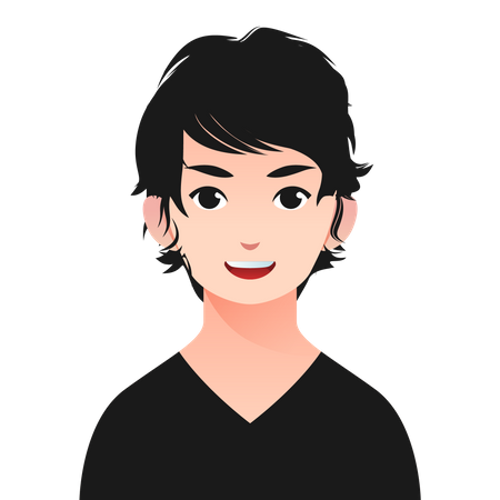 Boy with long hairstyle Illustration