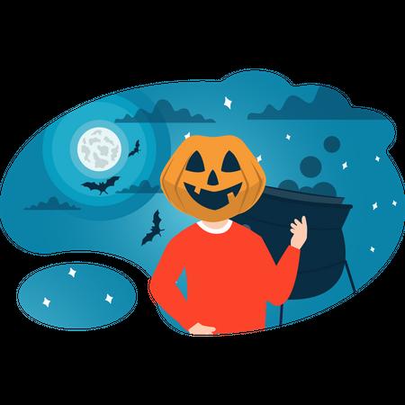 Boy with pumpkin face Illustration