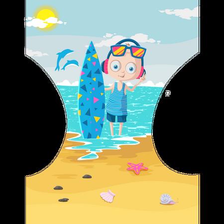 Boy with surfing board enjoying in sea Illustration