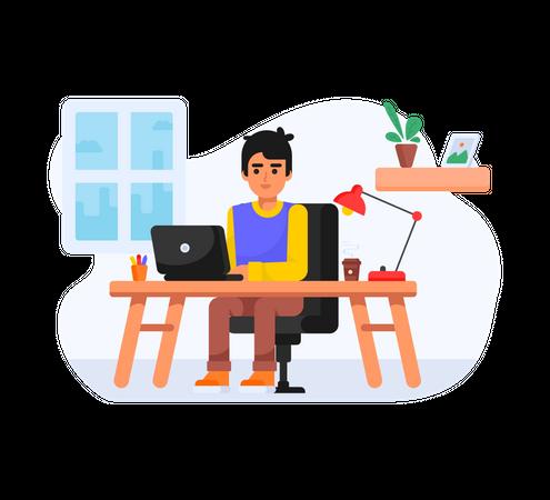 Boy working as a freelancer Illustration