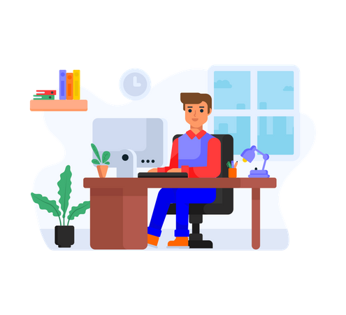 Boy working from home Illustration
