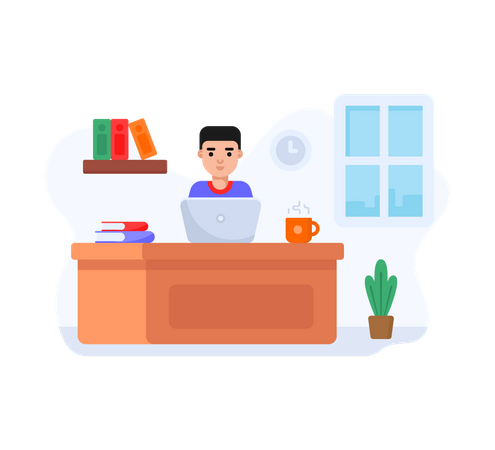 Boy working on laptop at home Illustration