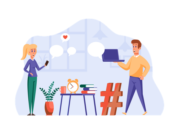 Boyfriend and girlfriend chatting on social media Illustration