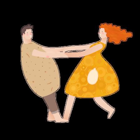 Boyfriend and girlfriend dancing Illustration