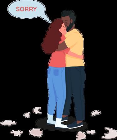 Boyfriend and girlfriend saying sorry Illustration