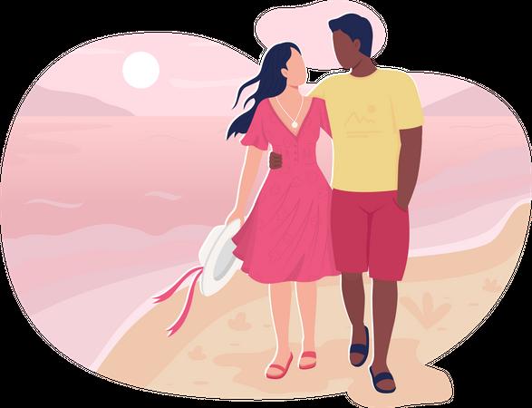 Boyfriend and girlfriend walk in beach Illustration