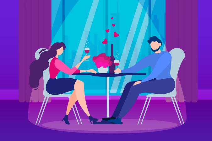Boyfriend Girlfriend Dating at restaurant Illustration