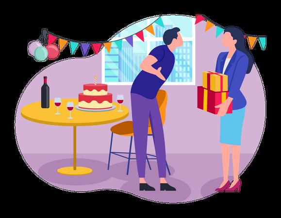 Boyfriend giving birthday surprise to girlfriend Illustration
