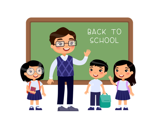 Boys and girls dressed in school uniform and male teacher pointing at blackboard cartoon characters Illustration