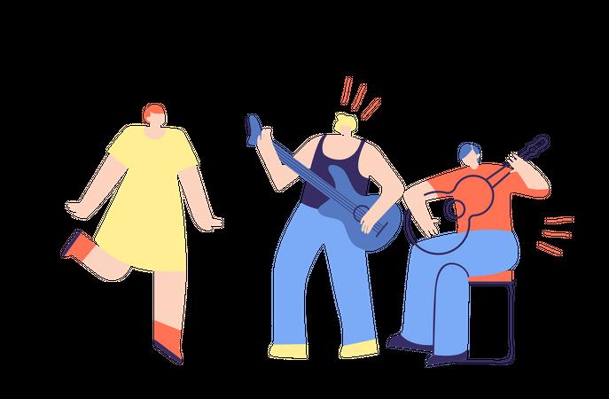 Boys Band Playing Guitar Illustration