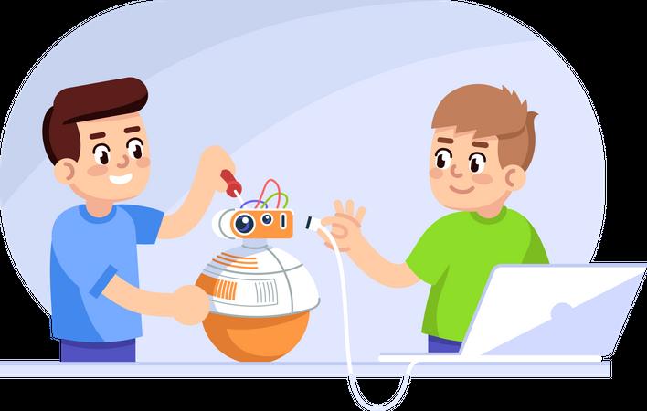 Boys creating robot Illustration